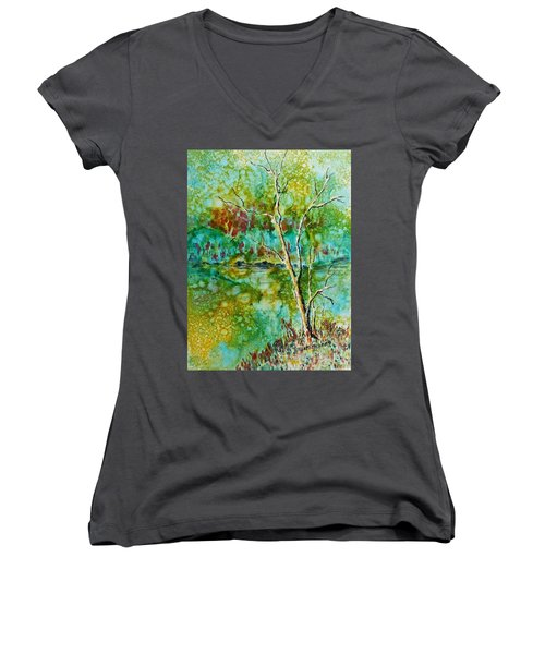 Greens Of Late Summer Women's V-Neck T-Shirt (Junior Cut) by Carolyn Rosenberger