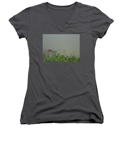 Women's V-Neck T-Shirt (Junior Cut) featuring the photograph Greenwood Gator Farm by Cynthia Powell