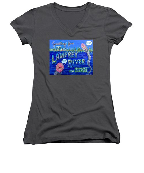 Greetings From The Lamprey River Women's V-Neck (Athletic Fit)