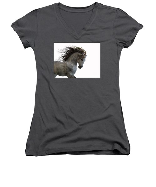 Grey On White Women's V-Neck T-Shirt