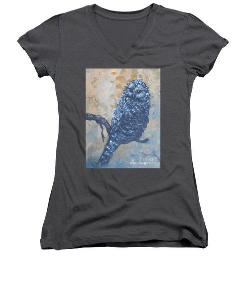 Grey Owl1 Women's V-Neck T-Shirt (Junior Cut) by Laurianna Taylor
