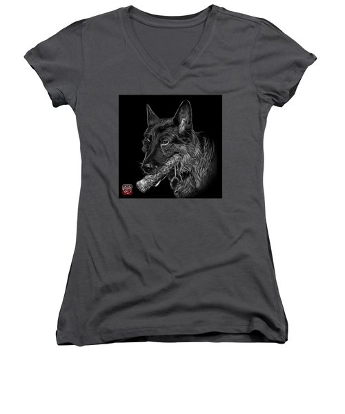 Greyscale German Shepherd And Toy - 0745 F Women's V-Neck