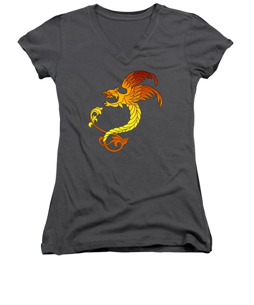 Griffin Griffon Gryphon In Flaming Colours Women's V-Neck T-Shirt