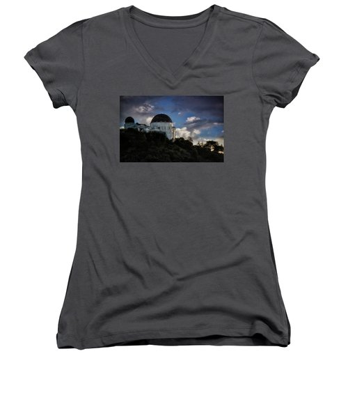 Women's V-Neck T-Shirt (Junior Cut) featuring the photograph Griffith Observatory by Joseph Hollingsworth