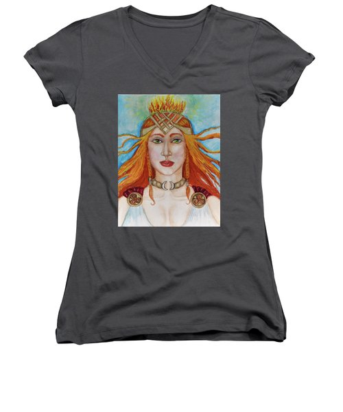 Brigidd Of The Sacred Flame Women's V-Neck (Athletic Fit)