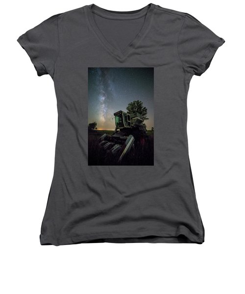 Women's V-Neck T-Shirt featuring the photograph Grim Gleaner  by Aaron J Groen