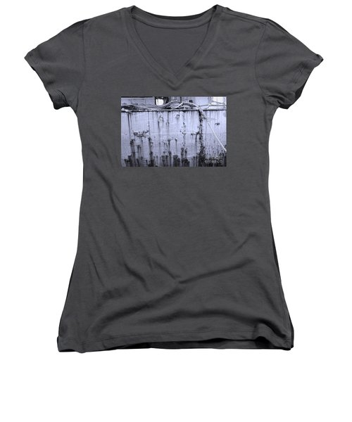 Women's V-Neck T-Shirt (Junior Cut) featuring the photograph Grimy Old Ship Hull by Yali Shi