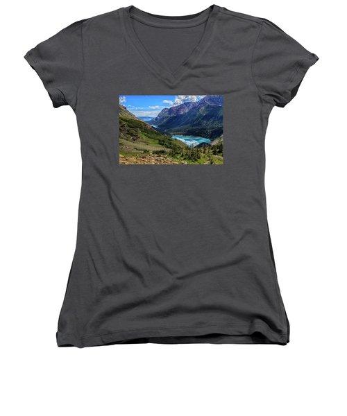 Grinell Hike In Glacier National Park Women's V-Neck T-Shirt
