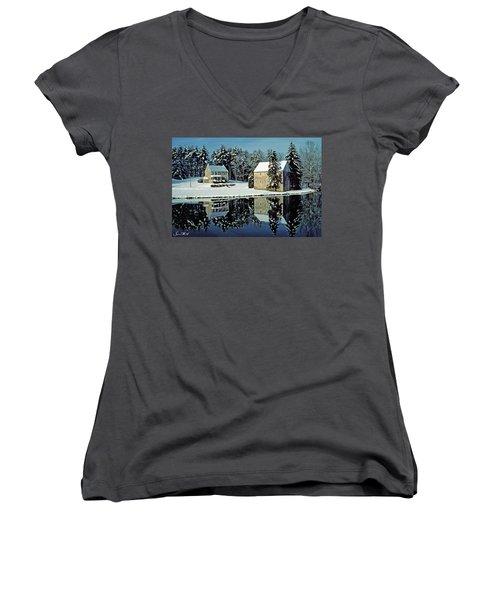 Grings Mill Snow 001 Women's V-Neck T-Shirt (Junior Cut) by Scott McAllister