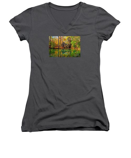 Grist Mill Women's V-Neck T-Shirt (Junior Cut) by Geraldine DeBoer