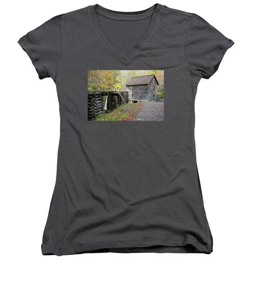 Grist Mill Women's V-Neck T-Shirt (Junior Cut) by Lamarre Labadie