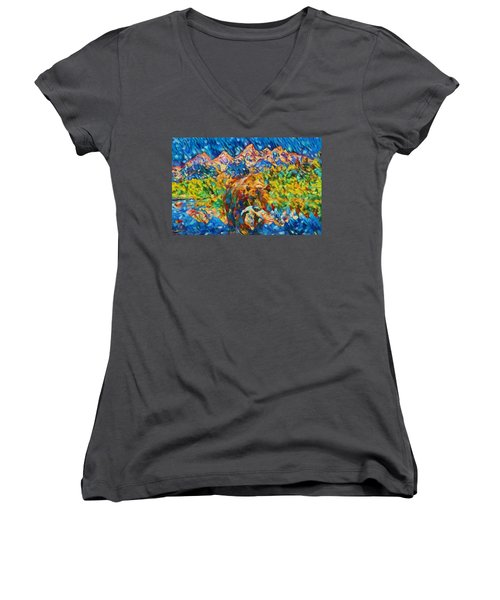 Women's V-Neck T-Shirt (Junior Cut) featuring the painting Grizzly Catch In The Tetons by Dan Sproul