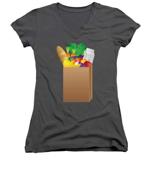 Grocery Paper Bag Of Food Illustration Women's V-Neck T-Shirt (Junior Cut) by Jit Lim