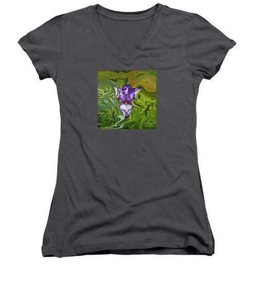 Groovy Purple Iris Women's V-Neck T-Shirt