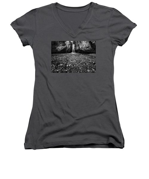 Grotto Falls In Black And White Women's V-Neck T-Shirt