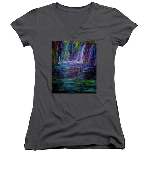 Women's V-Neck T-Shirt (Junior Cut) featuring the painting Grotto by Heidi Scott