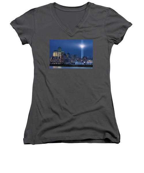 Ground Zero Tribute Lights And The Freedom Tower Women's V-Neck