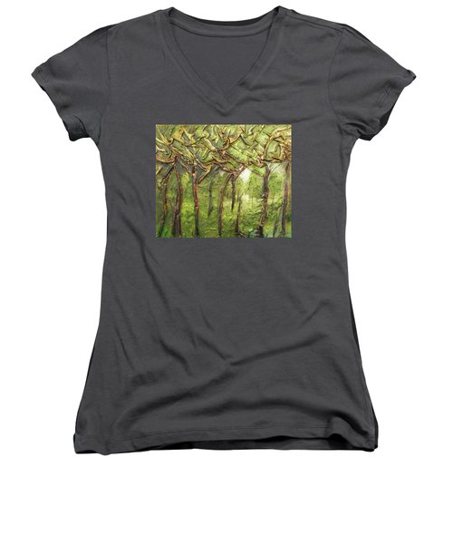 Women's V-Neck T-Shirt (Junior Cut) featuring the mixed media Grove Of Trees by Angela Stout