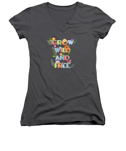 Grow Wild And Free Women's V-Neck (Athletic Fit)