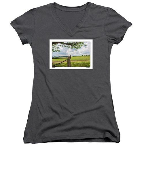 Women's V-Neck T-Shirt (Junior Cut) featuring the photograph Growing Season by R Thomas Berner