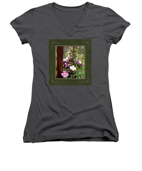 Women's V-Neck T-Shirt (Junior Cut) featuring the digital art Growing Wild by Susan Kinney