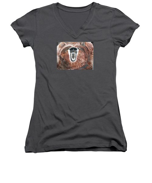 Growling Bear Women's V-Neck (Athletic Fit)
