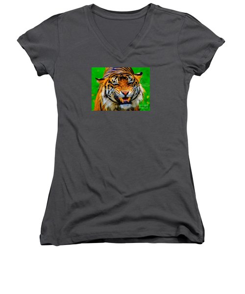 Growling Tiger Women's V-Neck (Athletic Fit)