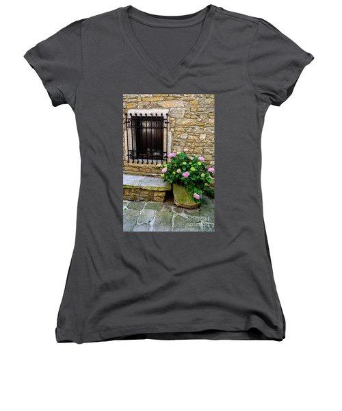 Groznjan Istrian Hill Town Stonework And Flowerpot - Istria, Croatia Women's V-Neck