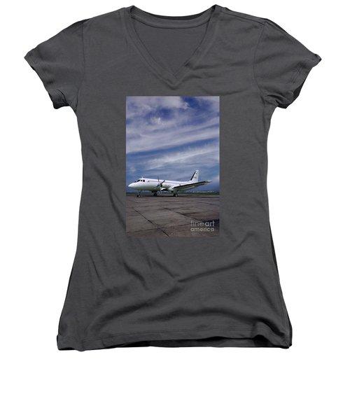 Grumman G-159 Gulfstream Patiently Waits, N719g Women's V-Neck T-Shirt