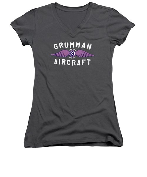 Grumman Wings Violet Women's V-Neck T-Shirt