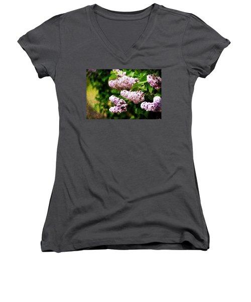 Grunge Lilacs Women's V-Neck
