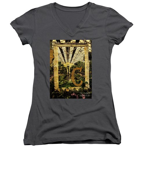 Grungy Melbourne Australia Alphabet Series Letter Women's V-Neck (Athletic Fit)