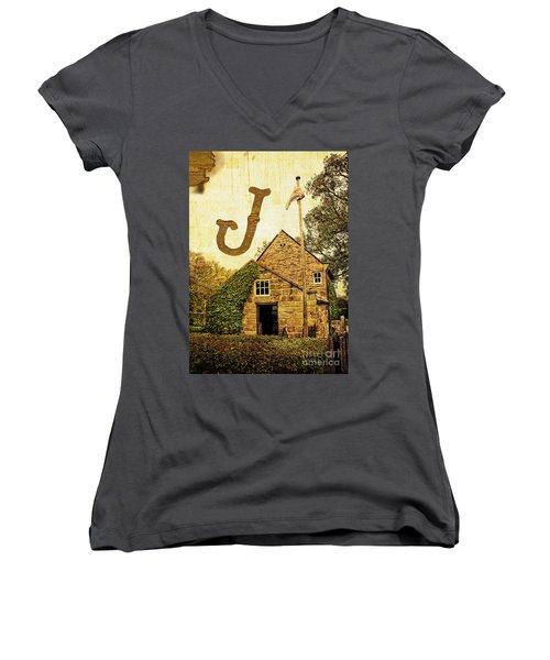 Grungy Melbourne Australia Alphabet Series Letter J Captain Jame Women's V-Neck (Athletic Fit)