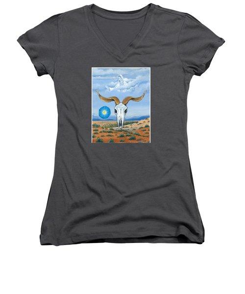 Guadalupe Visits Georgia O'keeffe Women's V-Neck T-Shirt (Junior Cut)
