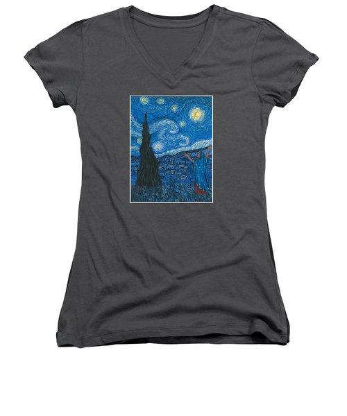 Guadalupe Visits Van Gogh Women's V-Neck T-Shirt (Junior Cut)