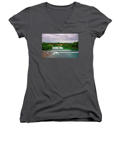 Guadeloupe River Women's V-Neck T-Shirt (Junior Cut) by Kelly Wade