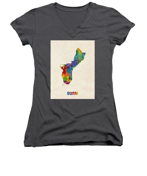 Guam Watercolor Map Women's V-Neck (Athletic Fit)
