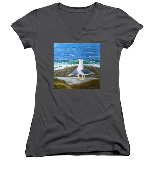 Guarding The Land And Sea Women's V-Neck