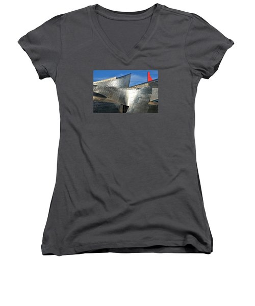 Guggenheim Museum Bilbao - 5 Women's V-Neck T-Shirt (Junior Cut) by RicardMN Photography