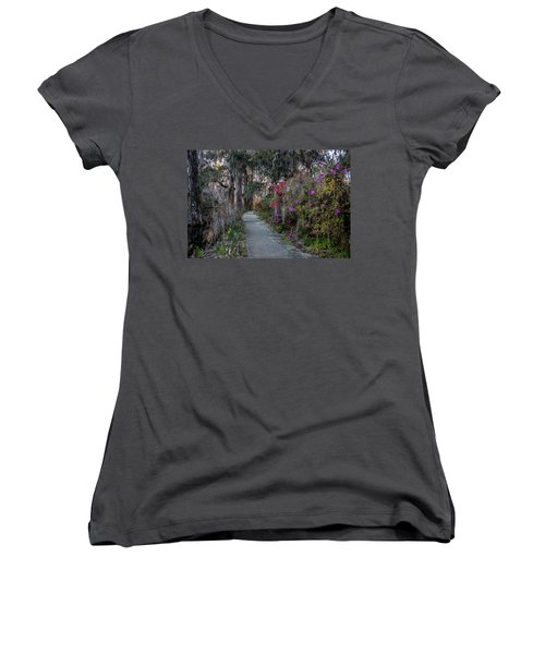 Guide Our Feet Into The Path Of Peace. Luke 1.79  Women's V-Neck (Athletic Fit)