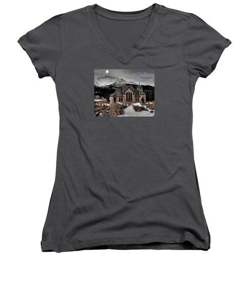 Guiding Light Over Saint Malo Women's V-Neck T-Shirt (Junior Cut) by Stephen  Johnson