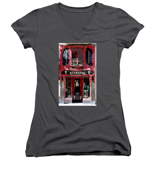 Women's V-Neck T-Shirt (Junior Cut) featuring the photograph Guinness Beer 5 by Andrew Fare