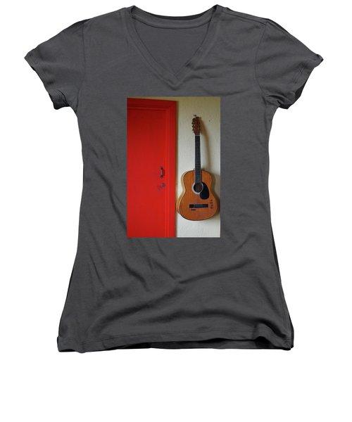 Guitar And Red Door Women's V-Neck