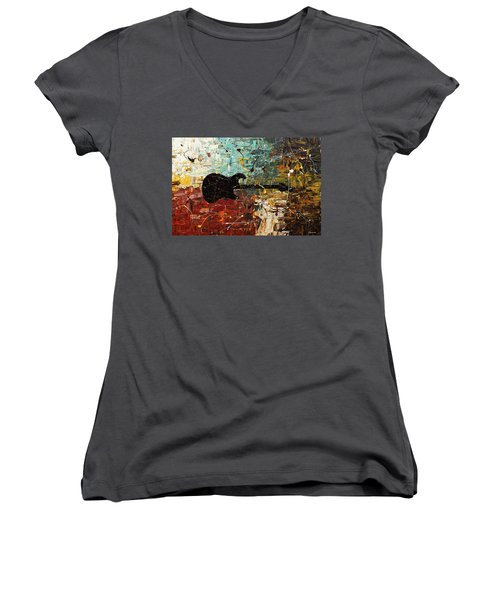 Women's V-Neck T-Shirt (Junior Cut) featuring the painting Guitar Story by Carmen Guedez