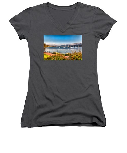 Gulf Of  Ullapool      Women's V-Neck T-Shirt (Junior Cut) by Sergey Simanovsky