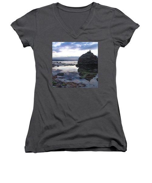 Women's V-Neck T-Shirt featuring the photograph Gulls With Clouds by Lora Lee Chapman