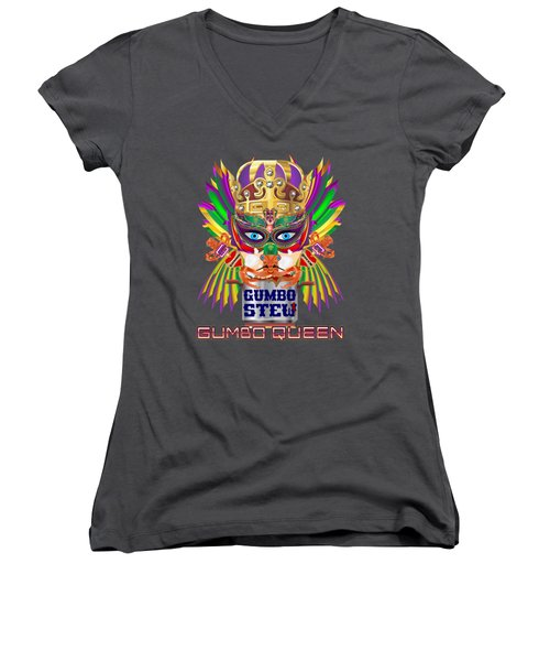 Gumbo Queen 1 All Products  Women's V-Neck T-Shirt (Junior Cut) by Bill Campitelle