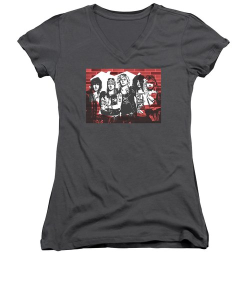 Women's V-Neck featuring the mixed media Guns N Roses Graffiti Tribute by Dan Sproul