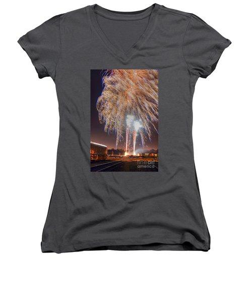 Guy Fawkes Night Fireworks Women's V-Neck
