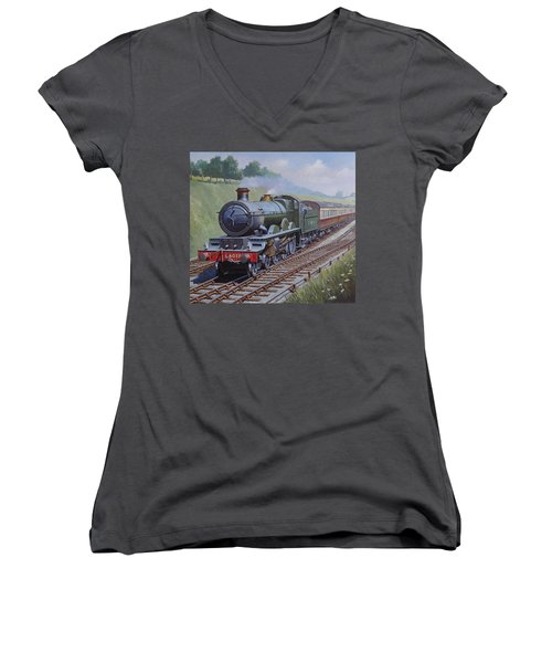 Gwr Saint Class Women's V-Neck T-Shirt (Junior Cut) by Mike  Jeffries